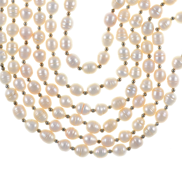 Beauchamp Place - Pearl Necklace zoom: 6 strand, freshwater white rice pearls 9.5-10.5mm, interspaced with silver color beads, on individually hand-knotted natural silk with silver metal lobster claw and jump chain.