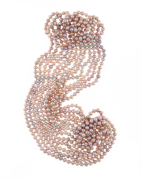 "Bonaire - Pearl Necklace, six strand, natural pink freshwater pearls 7.5-8mm, with silver spacer bars(1.5""), handset with CZs, on individually hand-knotted natural silk,  strands vary from 28"" to 42"" in length"