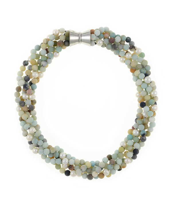 "Freshwater pearl and gemstone necklace, Five strands, white freshwater pearls 7.5mm, untumbled multi-colored amazonite 6mm, on individually hand-knotted natural silk with rare earth mixed metal magnetic clasp, 18"" in length"
