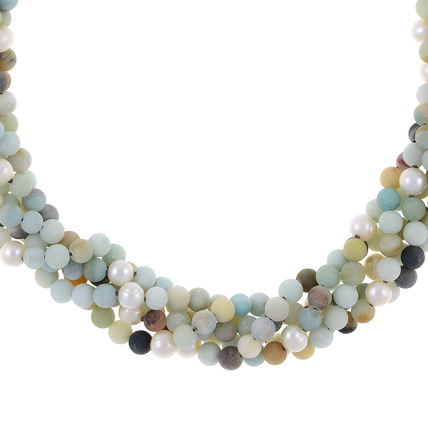 "zoom: Freshwater pearl and gemstone necklace, Five strands, white freshwater pearls 7.5mm, untumbled multi-colored amazonite 6mm, on individually hand-knotted natural silk with rare earth mixed metal magnetic clasp, 18"" in length"
