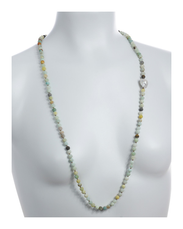 On model: Single strand pearl and gemstone necklace, single white freshwater biawa pearl 12-16mm, multi-colored untumbled amazonite 6mm, on individually hand-knotted natural colored silk