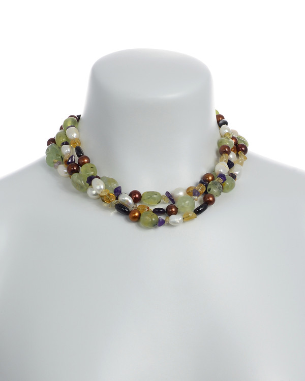 Pearl Necklace Accented with Stones, On model Cascadia: Triple strand, white freshwater potato pearls 9-11mm, round brown freshwater pearls 9-10mm, with peridot, citrine, & amethyst stones, individually hand-knotted on natural silk with rare earth mixed metal magnetic clasp