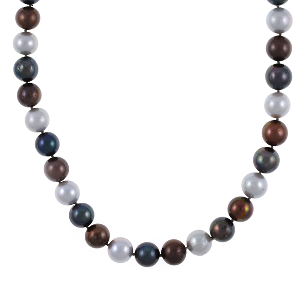 "Charbonnel - Pearl Necklace zoom 1, showing pearls: Single strand mixed color freshwater pearls (chocolate, charcoal, and platinum) 10-11mm, on individually hand-knotted brown silk, silver metal locking ""S"" clasp, 19"" in length."