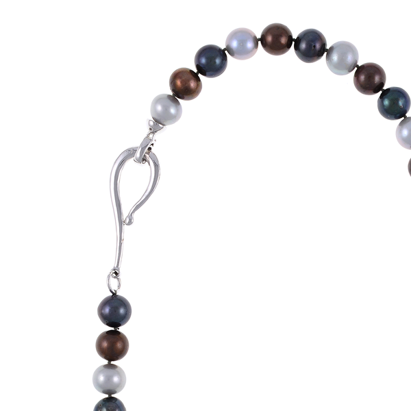 "Charbonnel - Pearl Necklace zoom 2, showing silver clasp: Single strand mixed color freshwater pearls (chocolate, charcoal, and platinum) 10-11mm, on individually hand-knotted brown silk, silver metal locking ""S"" clasp, 19"" in length."