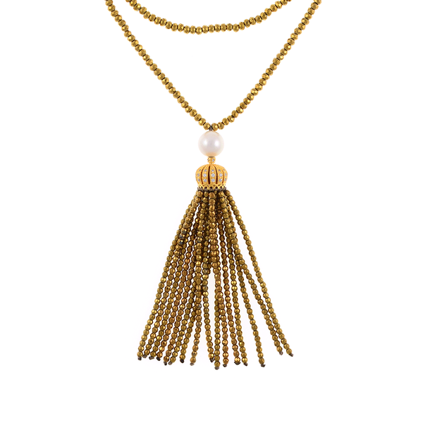 "Cotton Club Collection* - Hematite and Pearl Jewelry, Zoom of gold-tone tassel: Single strand gold-tone hematite bead necklace with white freshwater pearl 9mm, suspended with CZ set gold-toned crown supporting  hematite bead tassel, overall drop 3"", 32"" in length."