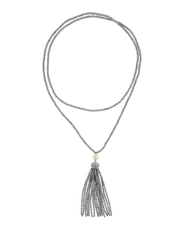"Cotton Club Collection* - Hematite and Pearl Jewelry, Single strand silver-tone hematite bead necklace with white freshwater pearl 9mm, suspended with CZ set silver-toned crown supporting hematite bead tassel, overall drop 3"", 32"" in length."