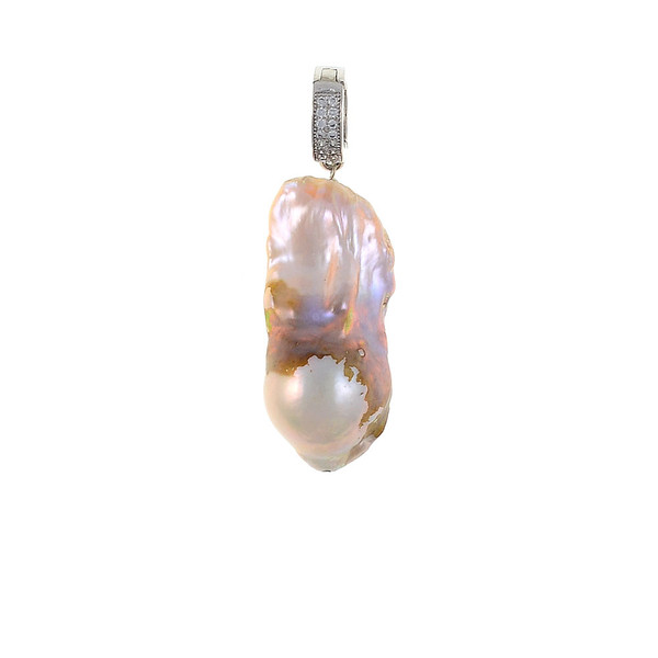 Danxia Pearls* - Pearl Pendants, Freshwater biawa pearl (15-18mm) pendant in natural purple/pink, Set in a Silver-tone, Setting features a mixed metal latch-back enhancer set with CZs