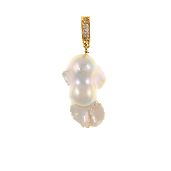 Danxia Pearls* - Pearl Pendants, Freshwater biawa pearl (15-18mm) pendant in natural white, Set in a Gold-tone,  Setting features a mixed metal latch-back enhancer set with CZs