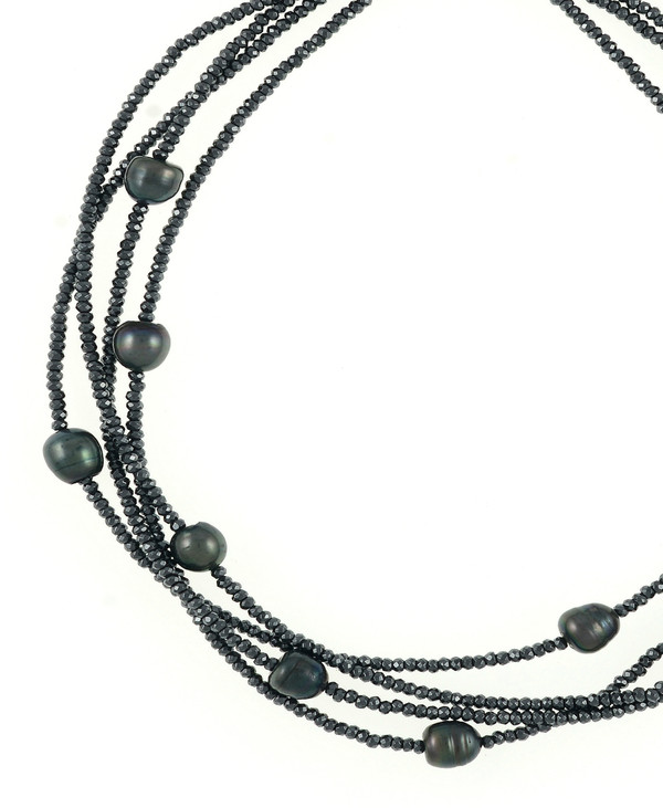zoom: Triple strand black freshwater pearls 9-10mm, black facet cut hematite, on black silk with rare earth mixed metal magnetic