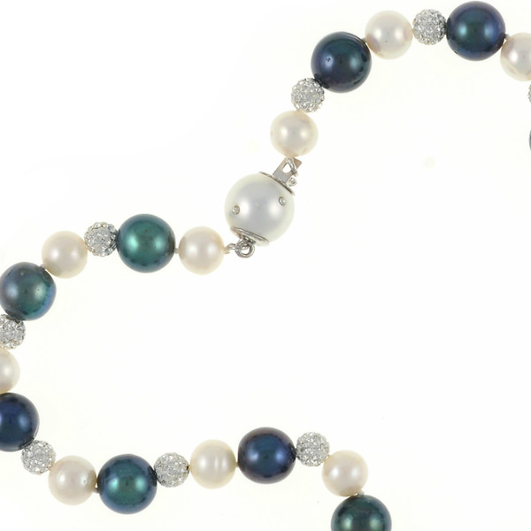 zoom: Geneva Pearl Necklace, showing CZ dotted clasp,  Exceptional quality single strand, white freshwater pearls 7.5-8.5mm, black laser dyed freshwater pearls 10.5-11.5mm, set with silver Swarovski crystal studded beads 6mm, and shell pearl safety clasp 12mm, also set with CZ's on individually hand knotted natural silk