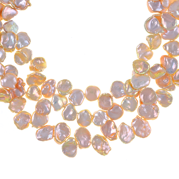 "Peachtree Street Pearl Necklace zoom: Triple strand extra-large natural color peach keshi pearls 12-13mm, on individually hand-knotted natural silk, silver-tone locking buckle clasp, 18"" in length (princess length)"