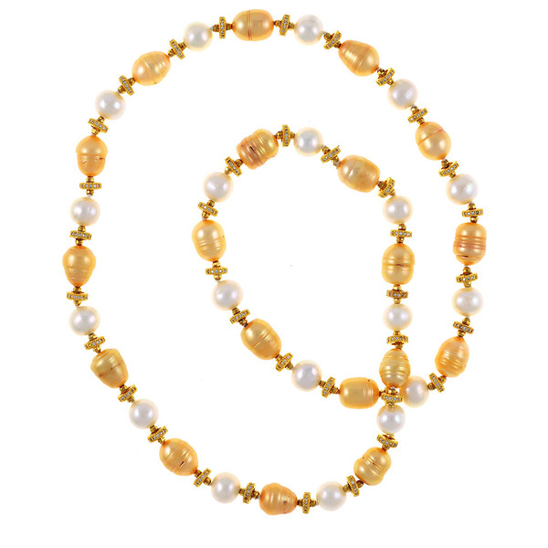 "Leone d'Oro I Pearl Necklace: Single strand freshwater white 9mm and gold 10.5x13mm laser dyed gold pearls interspaced with finely detailed CZ and brass beads, 26"" in length, opera to rope length"