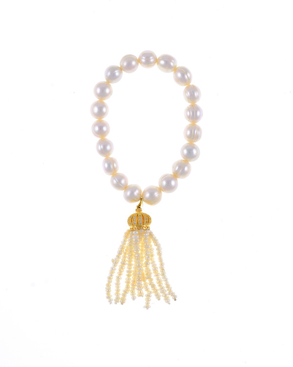 "Little Gold Crown - Pearl Bracelet: Single strand beaded pearl bracelet with white freshwater pearls 9-10mm,1.5"" seed pearl tassel drop suspended from mixed metal gold crown, on elastic, one size"