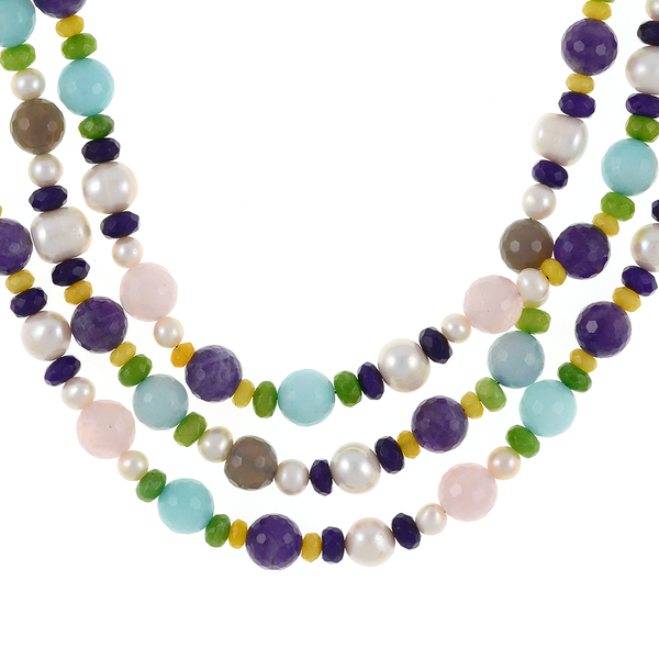 zoom Mallory Square - Pearl and Gemstone Necklace:Triple strand white freshwater pearls 7-12mm, facet cut rose quartz, amethyst, agate, and jade, on hand-knotted natural silk with rare earth mixed metal magnetic clasp, princess to matinee length