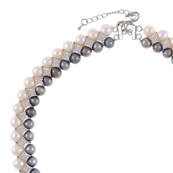 "zoom, Monaco Gray necklace: double strand 7-8mm grey freshwater pearls white 8-9mm freshwater pearls separated by stainless steel and CZ spacers, sterling silver clasp on hand-knotted natural silk, 18"" in length with jump chain allows for additional overall 20"" length., (princess length, expands to matinee length)"
