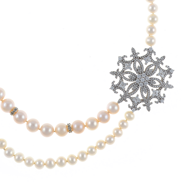 """Mont Blanc Pearl Necklace zoom on brooch: Partial double strand white freshwater pearls 7-9.5mm, handset CZs in stainless steel offset  brooch, on individually hand-knotted white silk, sterling silver clasp, 18"""" in length, princess length."""