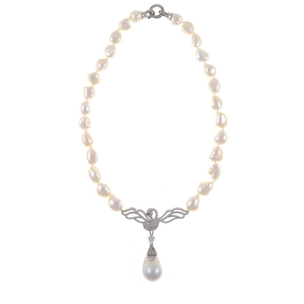 "Odette Anthology* - Pearl Necklace, Odette Silver-tone: Single strand white potato pearls 13-14mm, 7cm CZ silver-tone swan pendant with biawa 18-19mm, CZ covered silver-tone mixed metal locking circle clasp, 18"" in length, princess length"