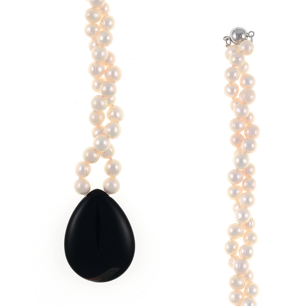 """zoom of Patagonia Pearl Necklace pendant and clasp, Patagonia Necklace: Single strand freshwater white pearls 7.5mm, 1.5"""" x 1.5"""" tear-drop black onyx pendant, on individually hand-knotted white silk with rare earth mixed metal magnetic clasp, 18"""" in length (princess length)"""