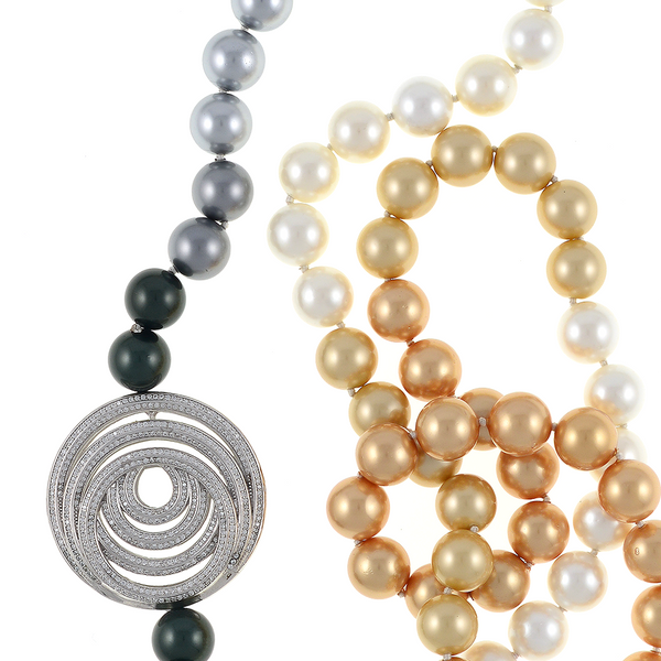 "zoom of pendant and shell pearls, Pennsylvania Avenue necklace: Single strand ombre mix of gold, white, silver, and black shell pearls 12mm, CZ enhanced geometric pendant accent in mixed metal, on individually hand-knotted natural silk, 40"" in length (lariat length), pendant designs may vary"