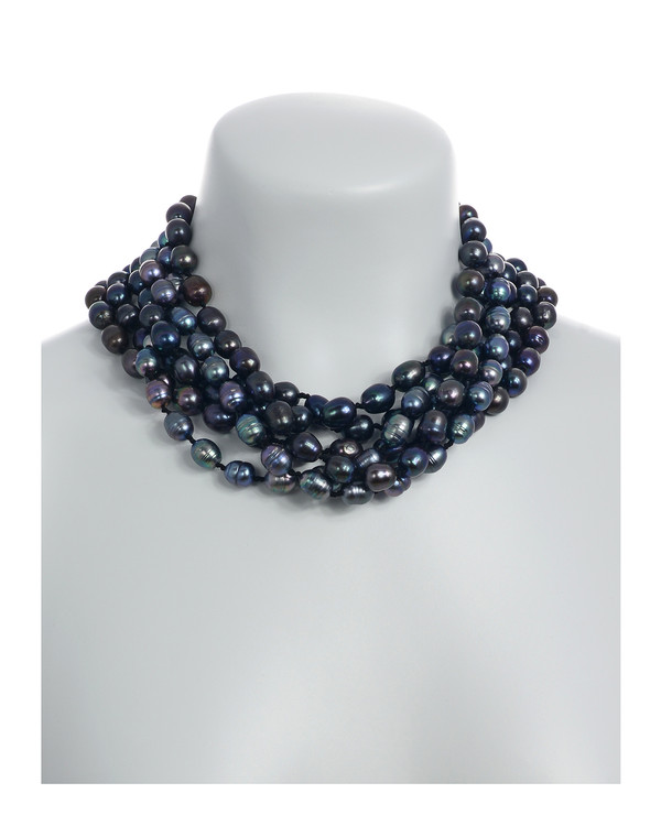 on model, Persephone pearl necklace: 6-strand laser dyed gradient-hued black freshwater pearls 10.5-13mm, on individually double-knotted natural silk, with extra-large rare earth mixed metal magnetic clasp.