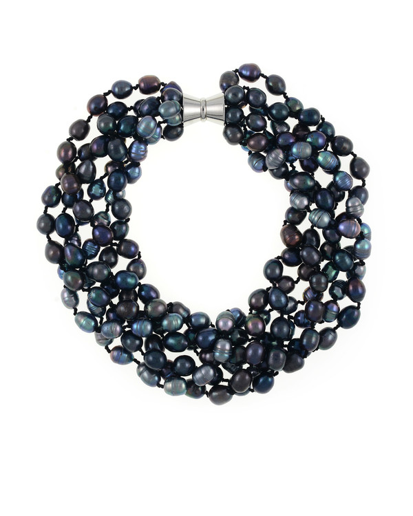 Persephone pearl necklace: 6-strand laser dyed gradient-hued black freshwater pearls 10.5-13mm, on individually double-knotted natural silk, with extra-large rare earth mixed metal magnetic clasp.