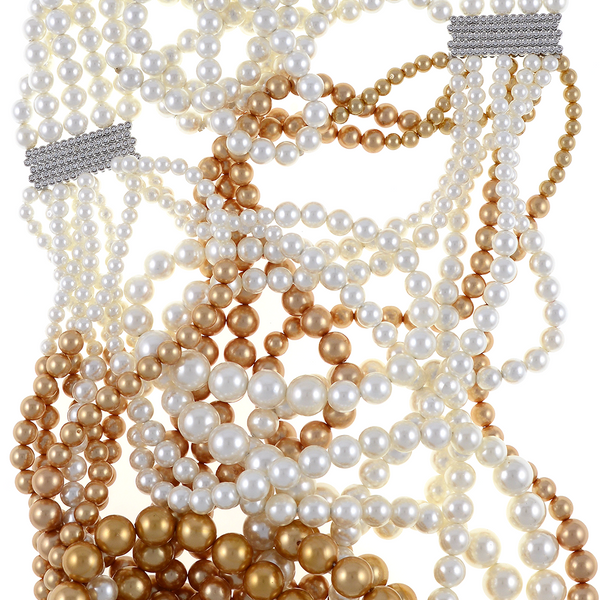 "zoom of shell pearls, Potala Palace Pearl necklace: Magnificent 5 strands transitioning into 10 strands, exceptional white and gold shell pearls 4-10mm, 5 bar CZ enhanced mixed metal spacer, 28"" transitioning to 36"" in length (lariat style draped necklace)"