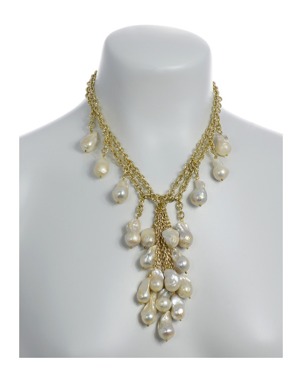 "on model, Roma Pearl necklace: Double strand of mixed metal gold tone chain, biawa freshwater pearls 12-14mm, 5"" long biawa freshwater pearls cascade, rare earth mixed metal magnetic clasp, 17"" in length (choker style with cascading drape of biawa freshwater pearls)."