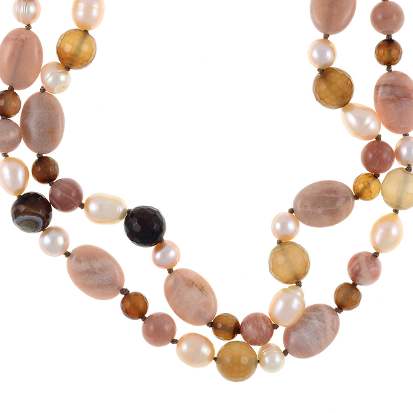 "Pearl Necklace Accented with Stones, zoom on Taos necklace: Double strand natural colored round 8.5mm peach and 10mm oval freshwater pearls, integrated with sunstone oval beads and mixed color agate, on individually hand-knotted beige silk with a rare earth mixed metal magnetic clasp, 18"" in length (princess length)"