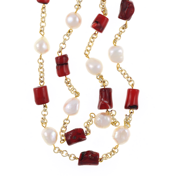 "zoom of Tibet II Pearl Necklace Accented with Stones: Single strand 11-12mm white freshwater potato  pearls, mixed with dyed red coral, on mixed metal gold-tone chain, 40"" in length (rope length)"
