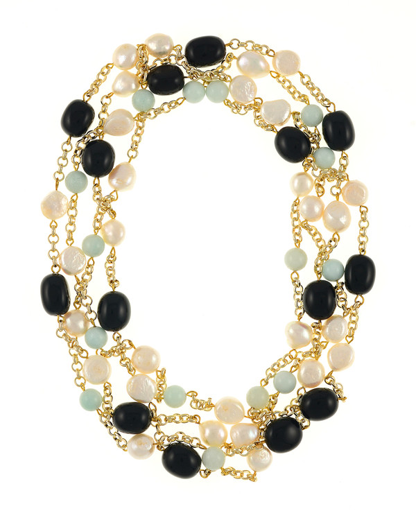 """Tibet I and III Pearl Necklace Accented with Stones: Single strand 11-12mm white freshwater potato pearls mixed with amazonite beads on mixed metal gold-tone chain and Single strand 11-12mm white freshwater potato pearls mixed with oval polished onyx, on mixed metal gold-tone chain, 40"""" in length (rope length)"""