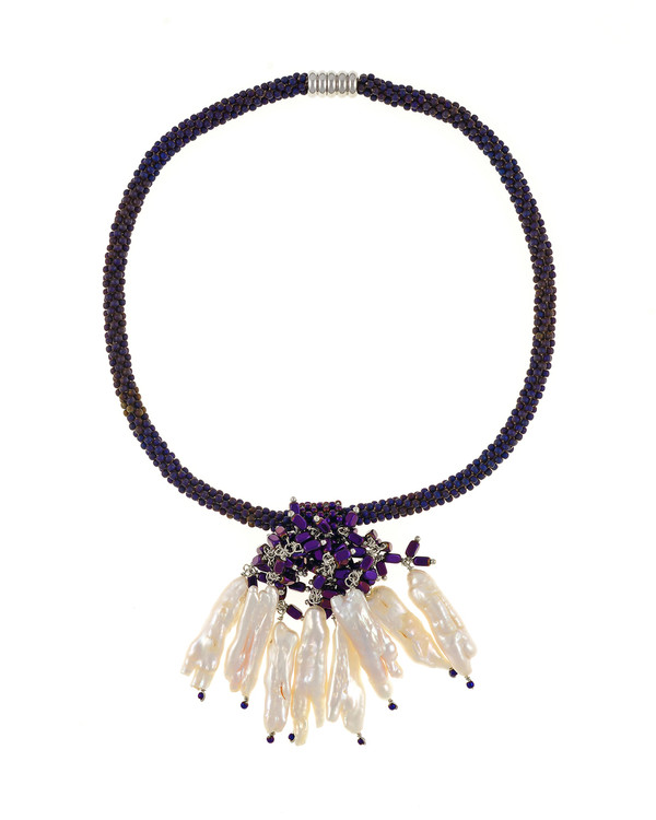 "The Luray Treasury* Pearl Necklace in Amethyst necklace: Hand-woven amethyst matte hematite bead necklace with 8 dangling tooth freshwater pearls and matching polished hematite beads, with rare earth mixed metal magnetic clasp, 17"" length with 2.5"" tooth pearl drop."