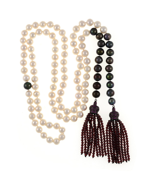 Grotta Palazzese - Pearl Necklace, 9-10mm exquisite white freshwater pearls mixed with 9-10mm black freshwater pearls individually hand-knotted on silk with two garnet-colored crown tassels set with pavé CZ's and 3mm garnet beads.