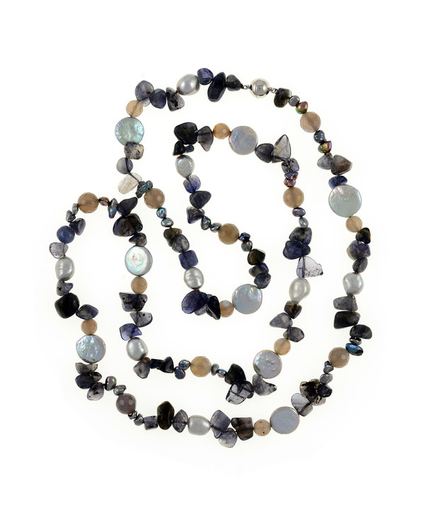 "Nederland - Pearl Necklace Accented with Stones, 10-11mm silver potato pearls, 13-14mm silver coin pearls, and 5-7mm keshi pearls interspersed with 8-10mm grey agate and tanzanite, individually hand-knotted on silk, 40"" in length, lariat length"
