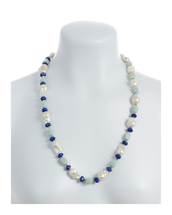 """necklace on model, White 11-13mm biawa pearls, on a single strand with rectangular amazonite beads, lapis, and gold accent beads, on individually hand-knotted natural silk, 28"""" in length."""