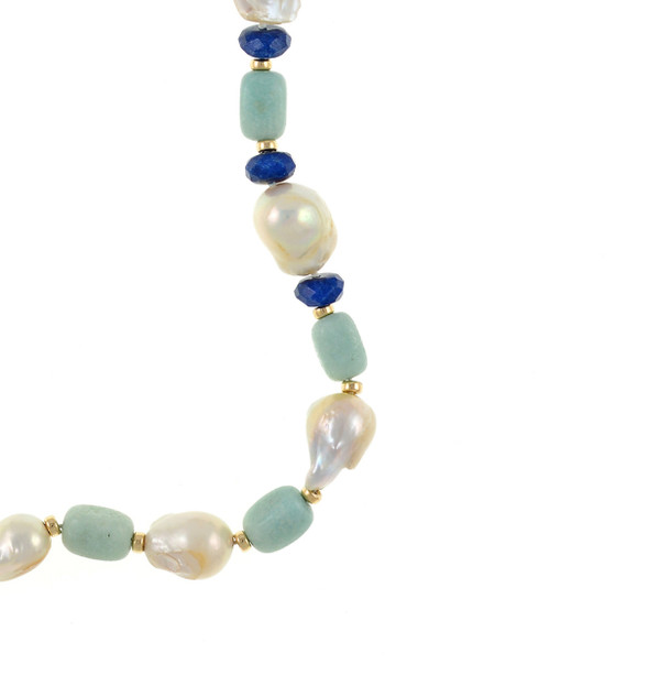 """zoom on transition ar3ea of necklace, White 11-13mm biawa pearls, on a single strand with rectangular amazonite beads, lapis, and gold accent beads, on individually hand-knotted natural silk, 28"""" in length."""
