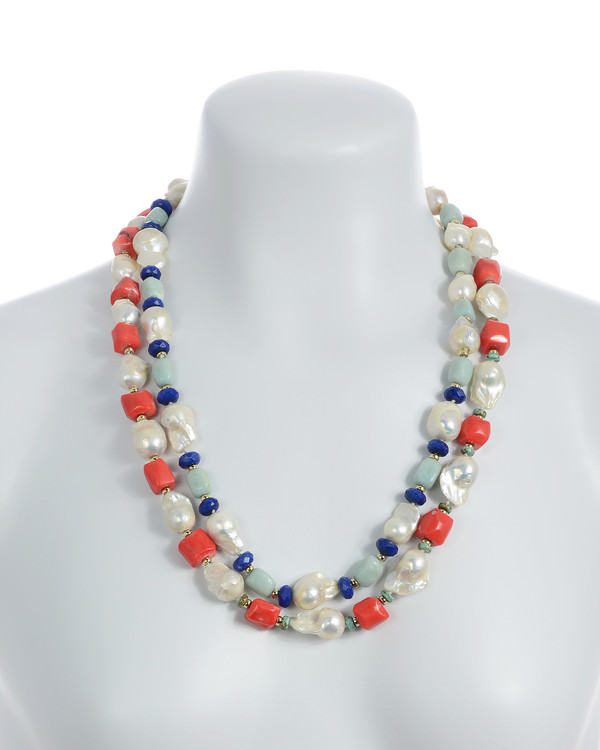 """on model, 2 necklaces, Half Moon Bay in coral and Grace Bay in amazonite, Single strand white 11-13mm biawa pearls,rectangular dyed coral beads with turquoise and gold accents beads, on individually hand-knotted natural silk, 28"""" in length"""