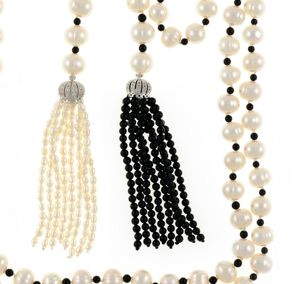 "zoom on Salome Pearl Necklace tassels,  9-10mm white round freshwater pearls separated with onyx, individually hand-knotted on silk, with 1 black onyx tassel and 1 white seed freshwater pearl tassel, Can be worn wrapped, draped, tied, or looped, 50"" in length (rope length)."