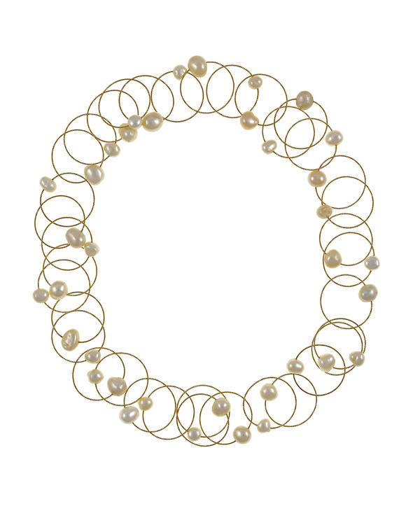 """Truilli - Pearl Necklace,    36 white freshwater pearls, 7.0-11.0 mm, on individual intertwining shiny textured brass rings,  Pearl necklace can be converted from a 45"""" long lariat style necklace to a choker style necklace with the included gold-toned converter"""
