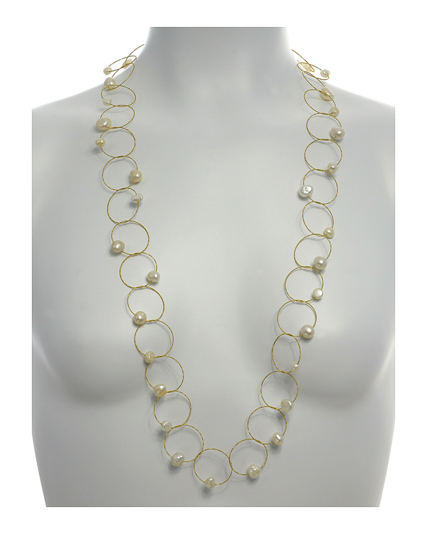 """Truilli - Pearl Necklace,    36 white freshwater pearls, 7.0-11.0 mm, on individual intertwining shiny textured brass rings,  Pearl necklace is 45"""" long lariat style , shown on model"""