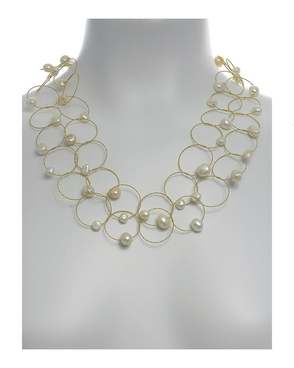 """Truilli - Pearl Necklace,    36 white freshwater pearls, 7.0-11.0 mm, on individual intertwining shiny textured brass rings,  Pearl necklace can be converted from a 45"""" long lariat style necklace to a choker style necklace with the included gold-toned converter, shown on model with converter in use"""