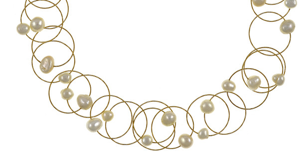 """Zoom on pearls in the Truilli - Pearl Necklace,    36 white freshwater pearls, 7.0-11.0 mm, on individual intertwining shiny textured brass rings,  Pearl necklace can be converted from a 45"""" long lariat style necklace to a choker style necklace with the included gold-toned converter"""