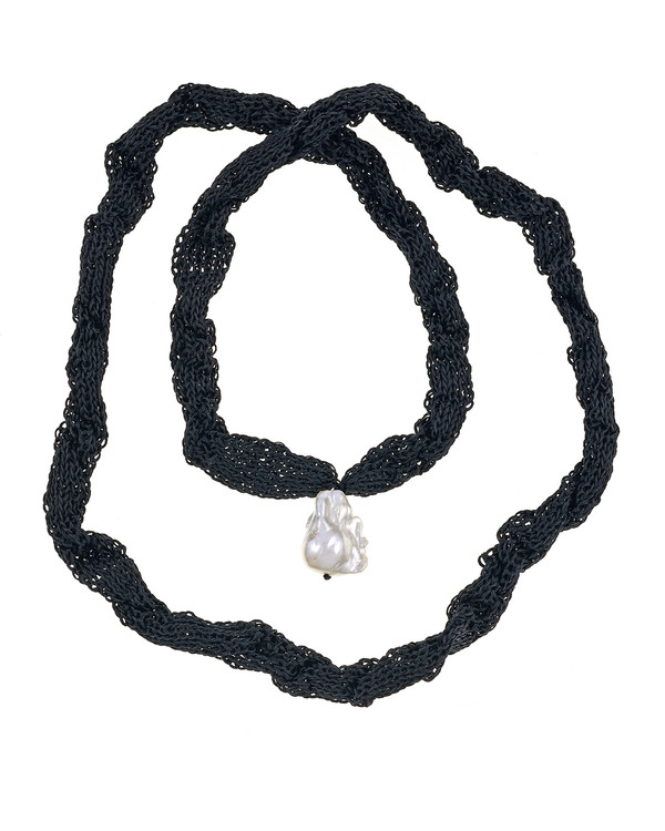 """Thorncrown* - Biawa Pearl & Silk Necklace, shown in black, Suspended extra-large natural white freshwater biawa pearl pendant, 15-18 mm hanging from Hand-crocheted silk necklace that slips over the head, 15-20"""" in length (princess to matinee length)"""