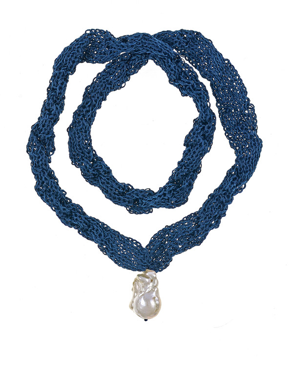 """Thorncrown* - Biawa Pearl & Silk Necklace, shown in denim, Suspended extra-large natural white freshwater biawa pearl pendant, 15-18 mm hanging from Hand-crocheted silk necklace that slips over the head, 15-20"""" in length (princess to matinee length)"""