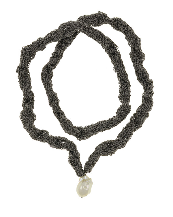 """Thorncrown* - Biawa Pearl & Silk Necklace, shown in gray, Suspended extra-large natural white freshwater biawa pearl pendant, 15-18 mm hanging from Hand-crocheted silk necklace that slips over the head, 15-20"""" in length (princess to matinee length)"""