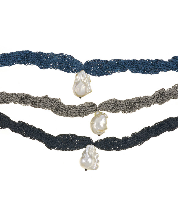 """Thorncrown* - Biawa Pearl & Silk Necklace, shown in denim, gray, and black Suspended extra-large natural white freshwater biawa pearl pendant, 15-18 mm hanging from Hand-crocheted silk necklace that slips over the head, 15-20"""" in length (princess to matinee length)"""