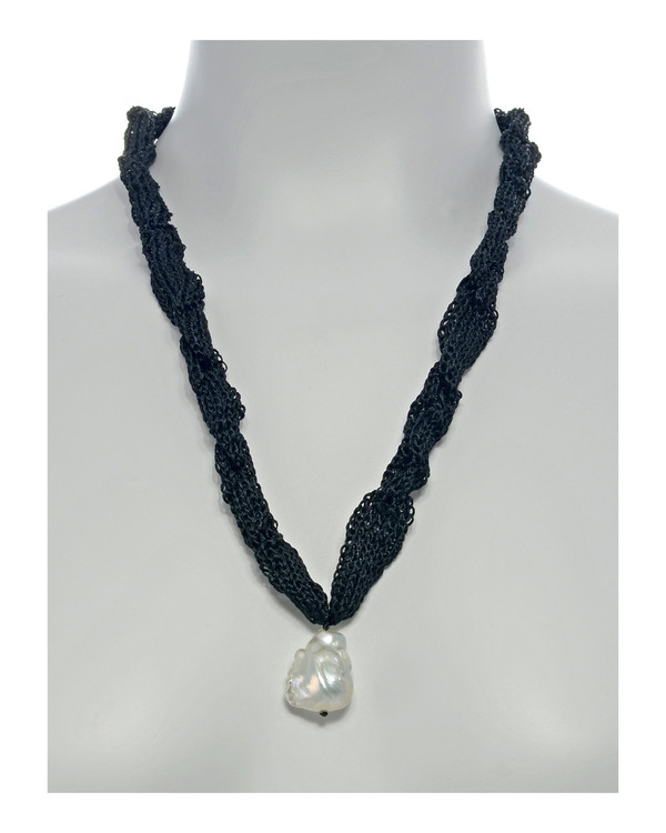 """Thorncrown* - Biawa Pearl & Silk Necklace, shown in black on model, Suspended extra-large natural white freshwater biawa pearl pendant, 15-18 mm hanging from Hand-crocheted silk necklace that slips over the head, 15-20"""" in length (princess to matinee length)"""