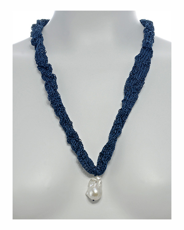 """Thorncrown* - Biawa Pearl & Silk Necklace, shown in denim on model, Suspended extra-large natural white freshwater biawa pearl pendant, 15-18 mm hanging from Hand-crocheted silk necklace that slips over the head, 15-20"""" in length (princess to matinee length)"""