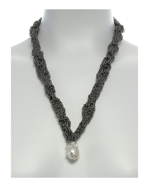 """Thorncrown* - Biawa Pearl & Silk Necklace, shown in gray on model, Suspended extra-large natural white freshwater biawa pearl pendant, 15-18 mm hanging from Hand-crocheted silk necklace that slips over the head, 15-20"""" in length (princess to matinee length)"""
