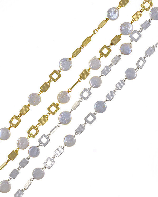 """Polignano a mare - Pearl Necklace,  Shown in both gold-tone and silver-tone,  Wear both together for a sparkling stand-out look, Pearl necklace composed of white freshwater coin pearls, 14mm, interspersed with mixed metal geometric window-shaped gold-toned or silver-toned links, Lobster claw clasp, 30"""" in length (rope or lariat length), Can be worn wrapped into a choker style (16"""")"""