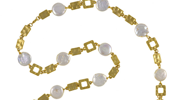 """zoom on Polignano a mare - Pearl Necklace to enhance detail,  Shown gold-tone,  Pearl necklace composed of white freshwater coin pearls, 14mm, interspersed with mixed metal geometric window-shaped gold-toned links, Lobster claw clasp, 30"""" in length (rope or lariat length), Can be worn wrapped into a choker style (16"""")"""